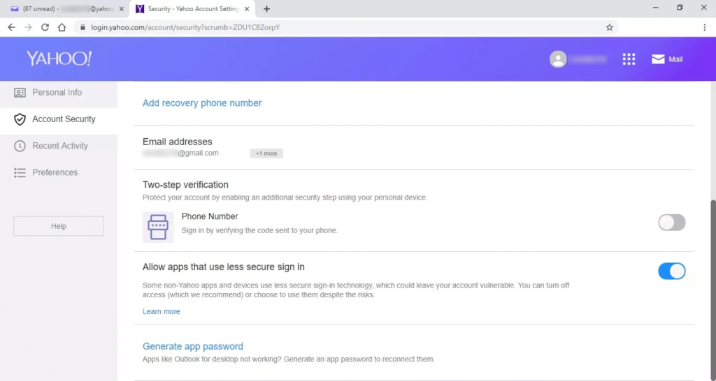 Allow apps that use less secure sign-in
