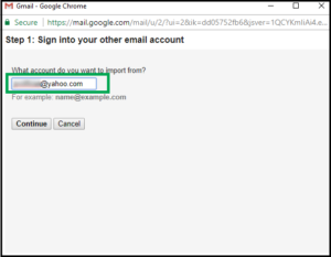 migrate yahoo mail to gmail - enter yahoo credentials