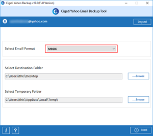 Cigati Yahoo backup tool - select destination folder for your Yahoo files to get converted into the MBOX files