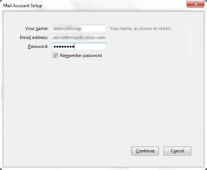 Thunderbird - Enter your name, email address, password