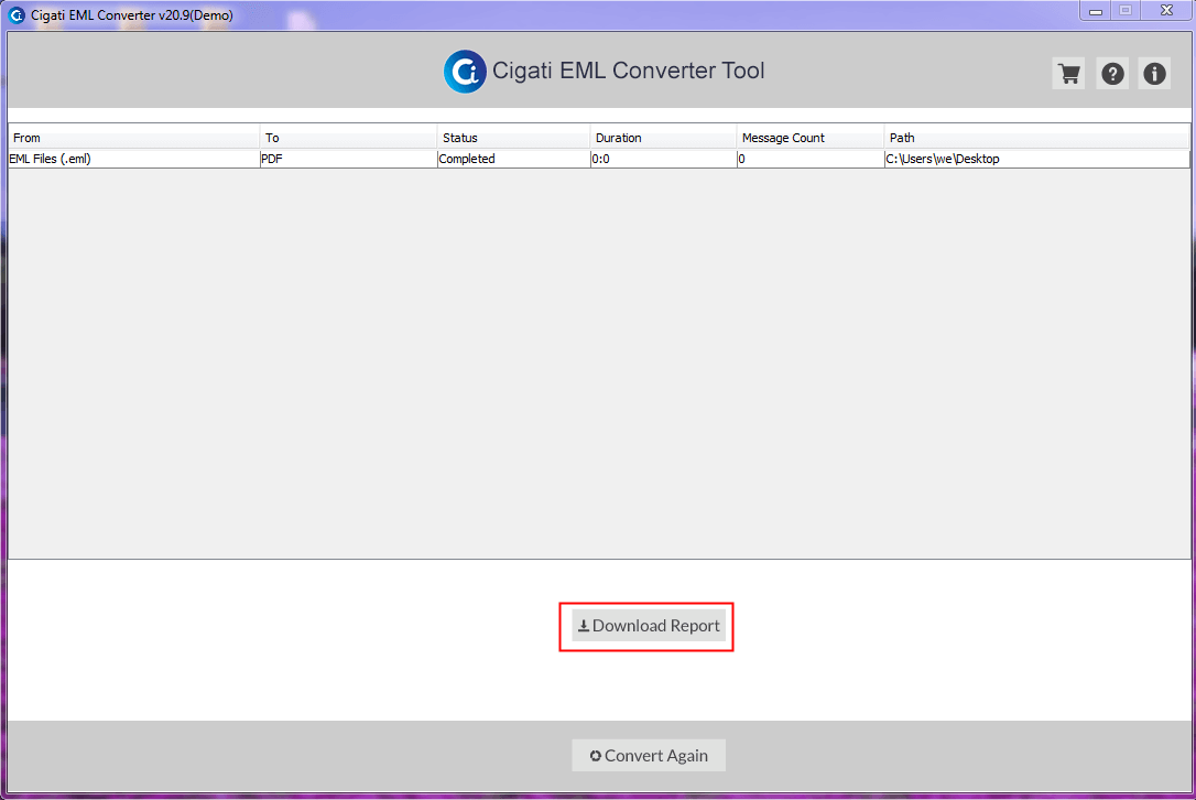 Move EML emails to PDF